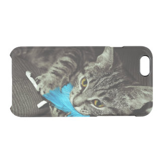 Tabby Cat with Feather by Shirley Taylor Clear iPhone 6/6S Case