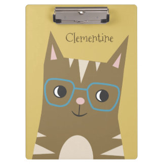 Tabby Cat with Glasses   Add Your Name Clipboard