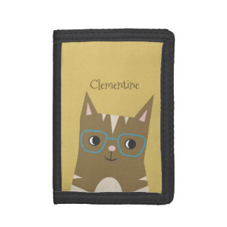 Tabby Cat with Glasses | Add Your Name Trifold Wallet