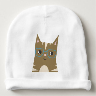 Tabby Cat with Glasses Baby Beanie