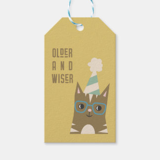 Tabby Cat with Glasses Birthday Gift Tags