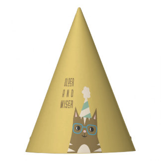 Tabby Cat with Glasses Birthday Party Hat