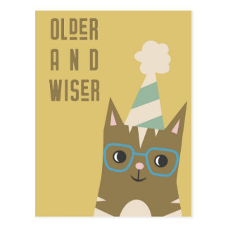 Tabby Cat with Glasses Birthday Postcard