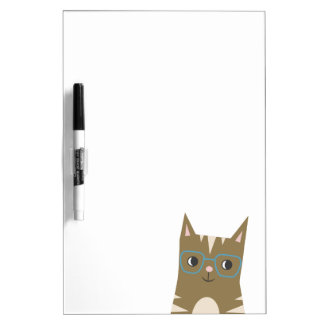 Tabby Cat with Glasses Dry Erase Board