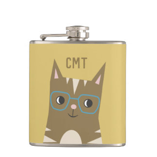 Tabby Cat with Glasses | Monogram Hip Flask