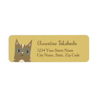 Tabby Cat with Glasses Return Address Label