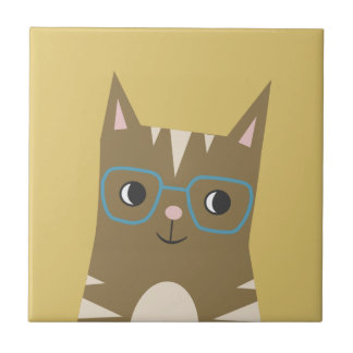 Tabby Cat with Glasses Tile