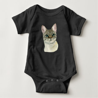 Tabby Cat with Pretty Green Eyes Watercolor Baby Bodysuit