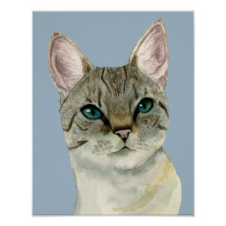 Tabby Cat with Pretty Green Eyes Watercolor Poster