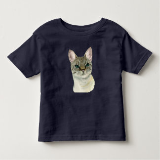 Tabby Cat with Pretty Green Eyes Watercolor Toddler T-Shirt