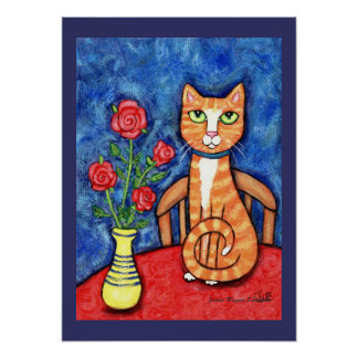 Tabby Cat With Roses Art Print
