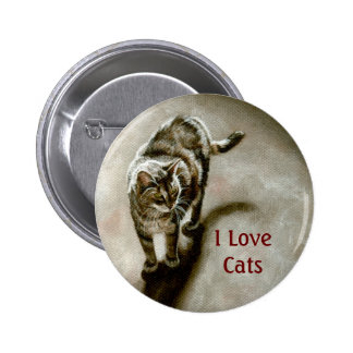 Tabby Cat with shadow, I Love Cats 6 Cm Round Badge