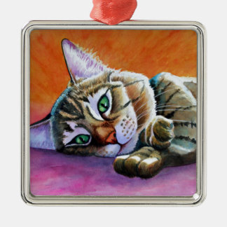 Tabby Cat with Smooshy Face Christmas Ornament