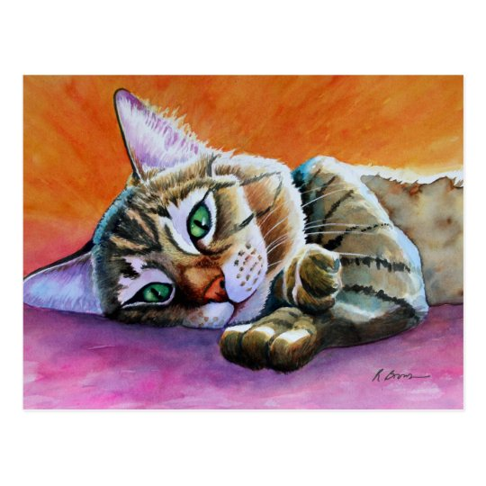 Tabby Cat with Smooshy Face Postcard