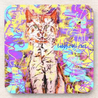 tabby cats rock popart coasters