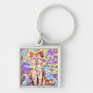tabby cats rock popart keychains