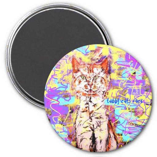 tabby cats rock popart fridge magnet