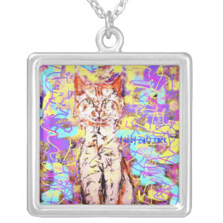tabby cats rock popart personalized necklace