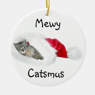 Tabby kitten Christmas Ceramic Ornament