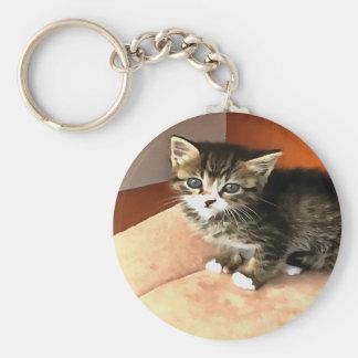 Tabby Kitten Named Miss Pip Squeak Basic Round Button Key Ring