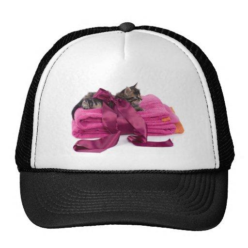 Tabby Kitten one pink towels Trucker Hats