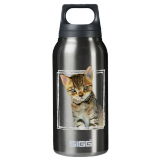 Tabby Kitten Painting with Faux Marble Frame Insulated Water Bottle