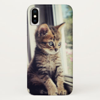 Tabby Kitten Watching iPhone X Case