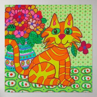 Tabby Kitten with Red Flower Folk Art Poster