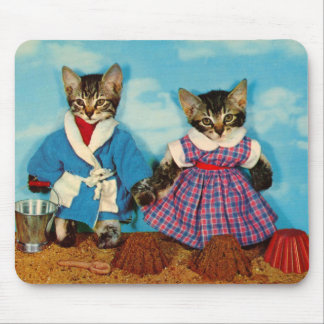 tabby kittens on the beach RPPC Mouse Pad