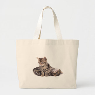 tabby kittens playing large tote bag