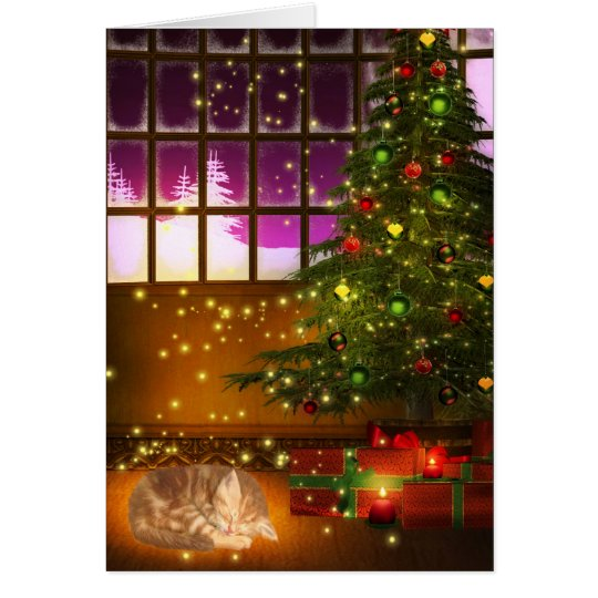 Tabby kitty Christmas Card