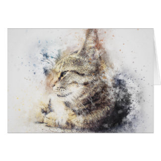 Tabby Love   Abstract   Watercolor Card