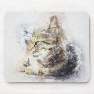 Tabby Love | Abstract | Watercolor Mouse Pad