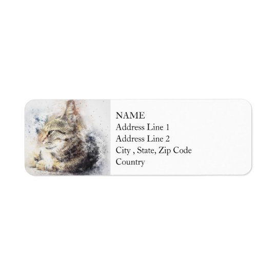 Tabby Love | Abstract | Watercolor Return Address Label