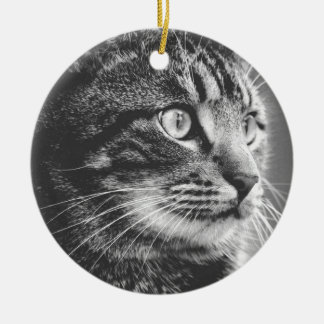 Tabby Profile | Big Eyes | Black and White Ceramic Ornament