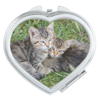 Tabby Sisters Heart Compact Mirror