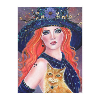 Tabitha Halloween witch and Kitty canvas  by Renee