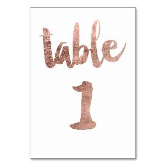 Table 1 Number rose gold typography wedding Card