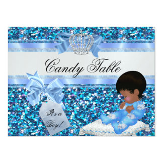 table 2 Baby Shower Boy Blue Little Prince Bunnies 17 Cm X 22 Cm Invitation Card