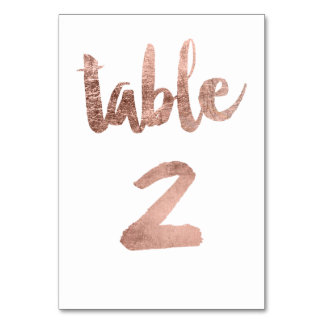 Table 2 Number rose gold typography wedding Table Cards