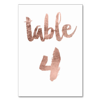 Table 4 Number rose gold typography wedding Table Card