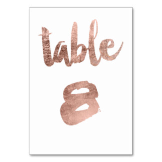 Table 8 Number rose gold typography wedding Table Cards