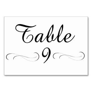 Table 9 table card