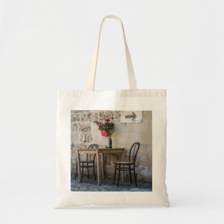 Table and Chairs Bottle of Wine Tote Bag