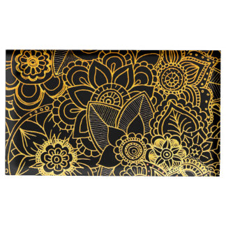 Table Card Holder Floral Doodle Gold G523