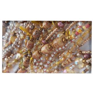 Table Card Holder- Natural Earthtones Beads Print Table Card Holder