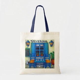 Table for Two Greece Painting Tote Bag