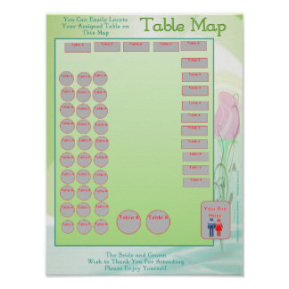 Table Location Map (vertical) Poster
