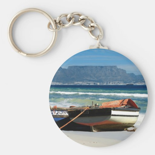 Table Mountain & fishing boats keychains & keyring