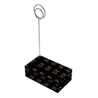 Table Number 10 Black Gold Elegant Typography Table Card Holder